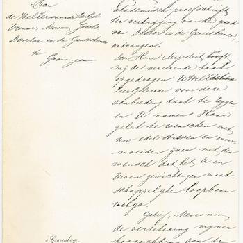 Correspondentie over de aanbieding van het proefschrift van Aletta Jacobs, 8 en 14 maart 1879