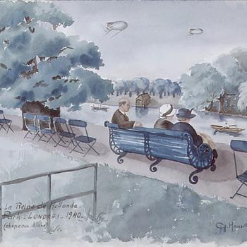 Koningin Wilhelmina zittend in Hyde Park
