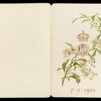 Menukaart dejeuner ter gelegenheid van het huwelijk van koningin Wilhelmina en prins Hendrik, 7 februari 1901