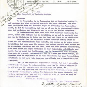 Brief van Aletta Jacobs aan koningin Emma, 13 november 1913