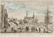 Het Rapenburg te Leiden, daags na het Springen van een Schip met buskruid op den…