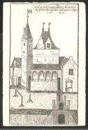 Dit is 's-Gravenstein binnen de Stad Leijden int jaer 1596.