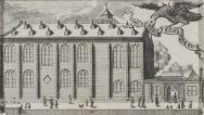 Academiegebouw met klein torentje en poort