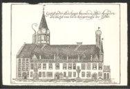 esigt op der stedehuys binnen de stad Leijden zoo als het was in de belegering d…