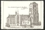 De toorn der kerck tot Leijden door Berenstraten geteeckent anno 1662.