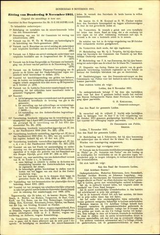 Handelingen van de Raad 1911-11-09