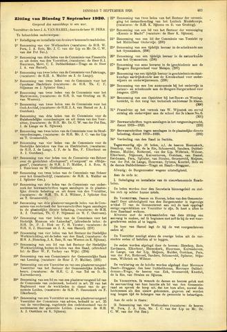 Handelingen van de Raad 1920-09-07