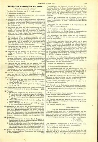 Handelingen van de Raad 1922-05-29