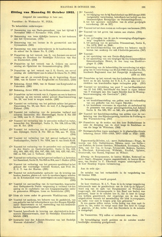 Handelingen van de Raad 1921-10-31