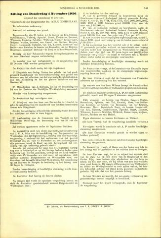 Handelingen van de Raad 1926-11-04