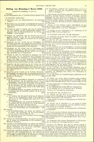 Handelingen van de Raad 1928-03-05