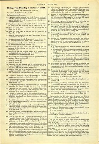 Handelingen van de Raad 1921-02-01
