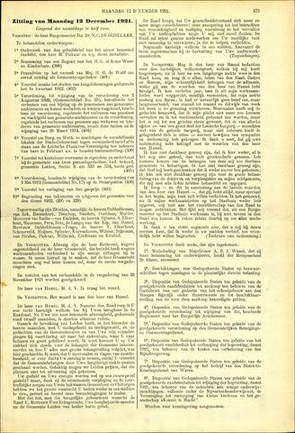 Handelingen van de Raad 1921-12-12
