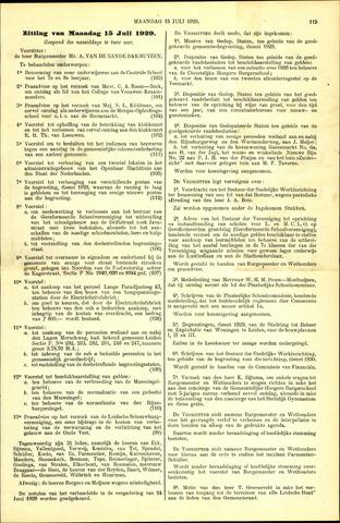 Handelingen van de Raad 1929-07-15