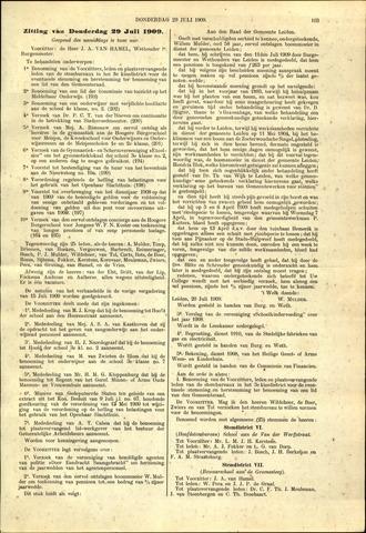 Handelingen van de Raad 1909-07-29