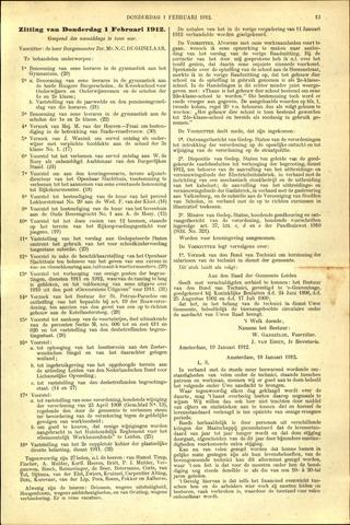 Handelingen van de Raad 1912-02-01