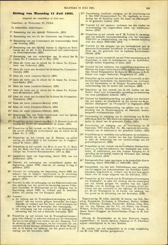 Handelingen van de Raad 1921-07-11