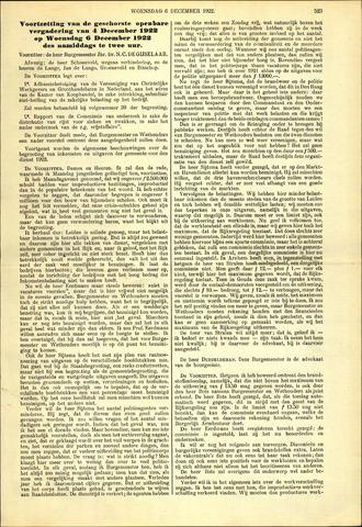 Handelingen van de Raad 1922-12-06
