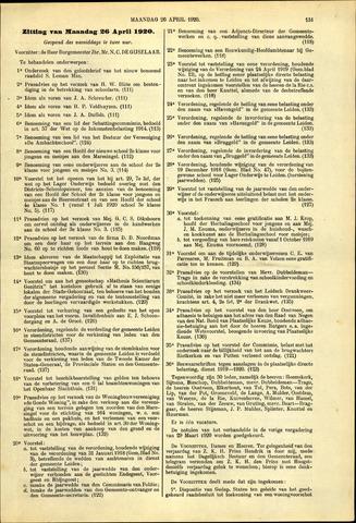 Handelingen van de Raad 1920-04-26