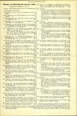Handelingen van de Raad 1923-01-22