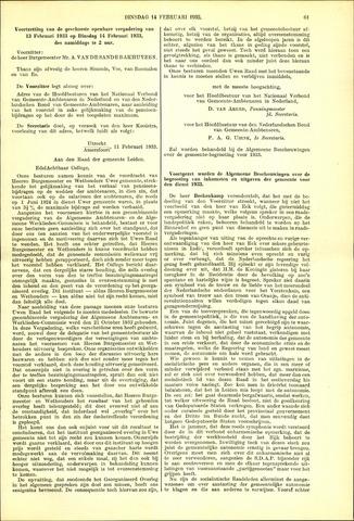 Handelingen van de Raad 1933-02-14