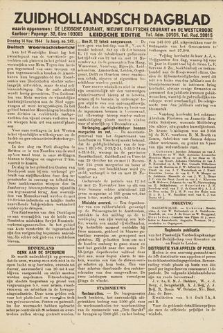 Zuidhollandsch Dagblad 1944-11-14