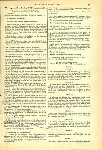 Handelingen van de Raad 1931-11-26