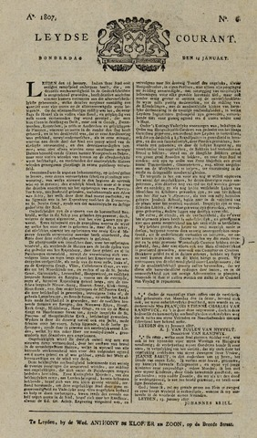 Leydse Courant 1807-01-14