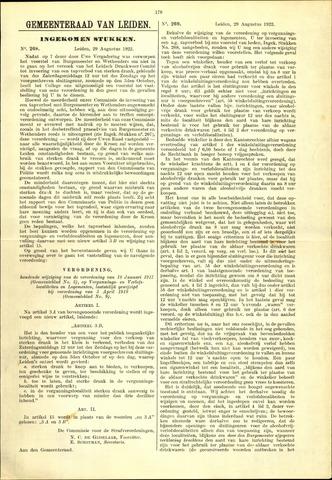 Handelingen van de Raad 1922-08-29