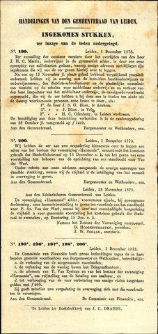 Handelingen van de Raad 1873-12-01
