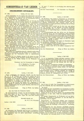 Handelingen van de Raad 1927-06-29
