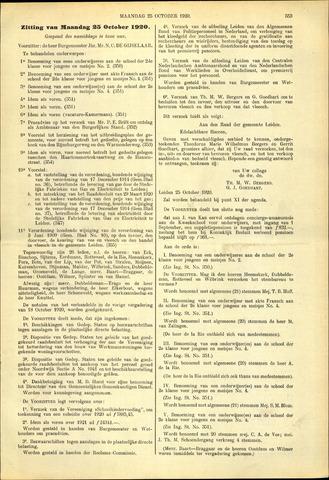 Handelingen van de Raad 1920-10-25