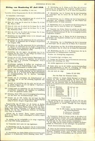 Handelingen van de Raad 1916-07-27