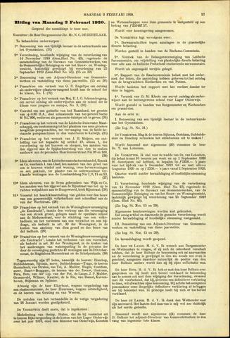 Handelingen van de Raad 1920-02-02