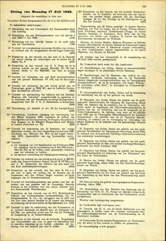 Handelingen van de Raad 1922-07-17