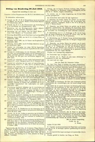 Handelingen van de Raad 1910-07-28