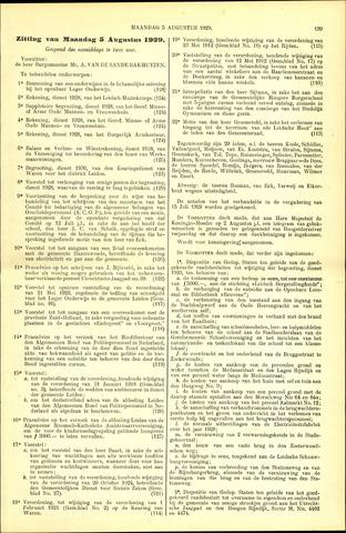 Handelingen van de Raad 1929-08-05