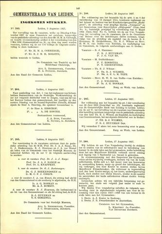 Handelingen van de Raad 1927-08-03