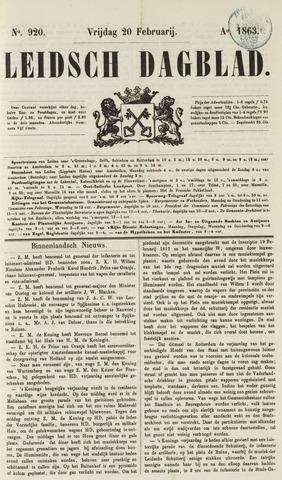 Leidsch Dagblad 1863-02-20
