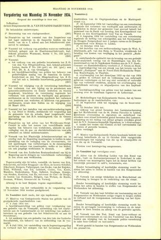 Handelingen van de Raad 1934-11-26