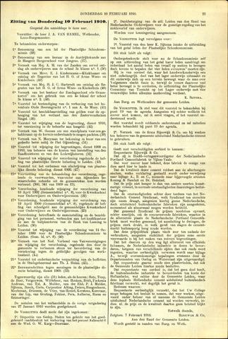 Handelingen van de Raad 1910-02-10