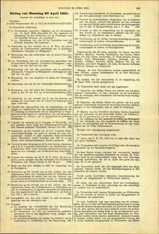 Handelingen van de Raad 1931-04-20