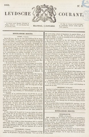 Leydse Courant 1852-01-05