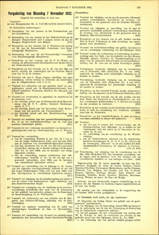 Handelingen van de Raad 1932-11-07