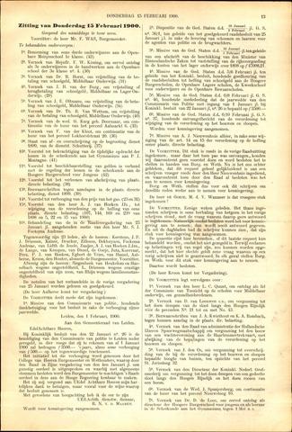 Handelingen van de Raad 1900-02-15
