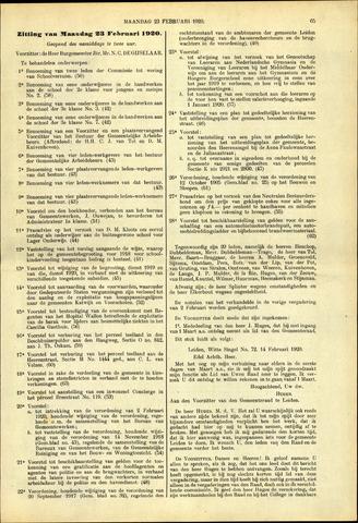 Handelingen van de Raad 1920-02-23