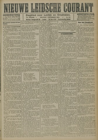 Nieuwe Leidsche Courant 1923-09-07