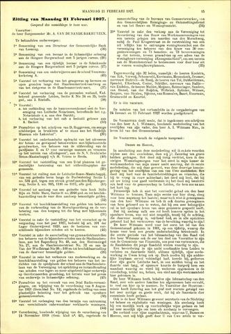 Handelingen van de Raad 1927-02-21