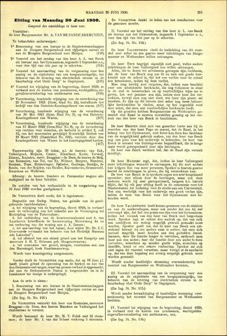 Handelingen van de Raad 1930-06-30