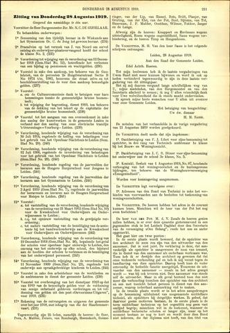Handelingen van de Raad 1919-08-28